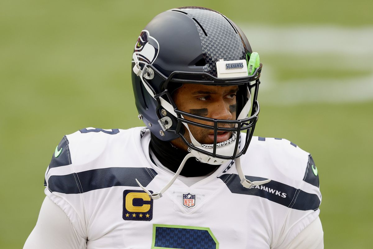 Russell Wilson #3 of the Seattle Seahawks prepares to take on the Washington Football Team at FedExField on December 20, 2020 in Landover, Maryland.