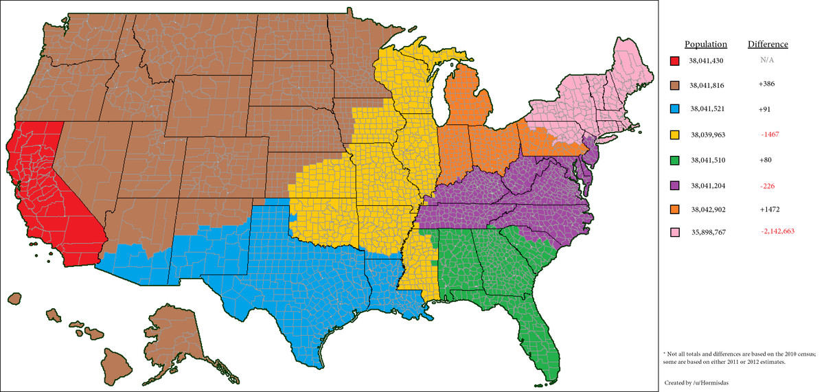 America Is Too Big Heres How To Split It Into Five Uk Sized - Big-map-of-us