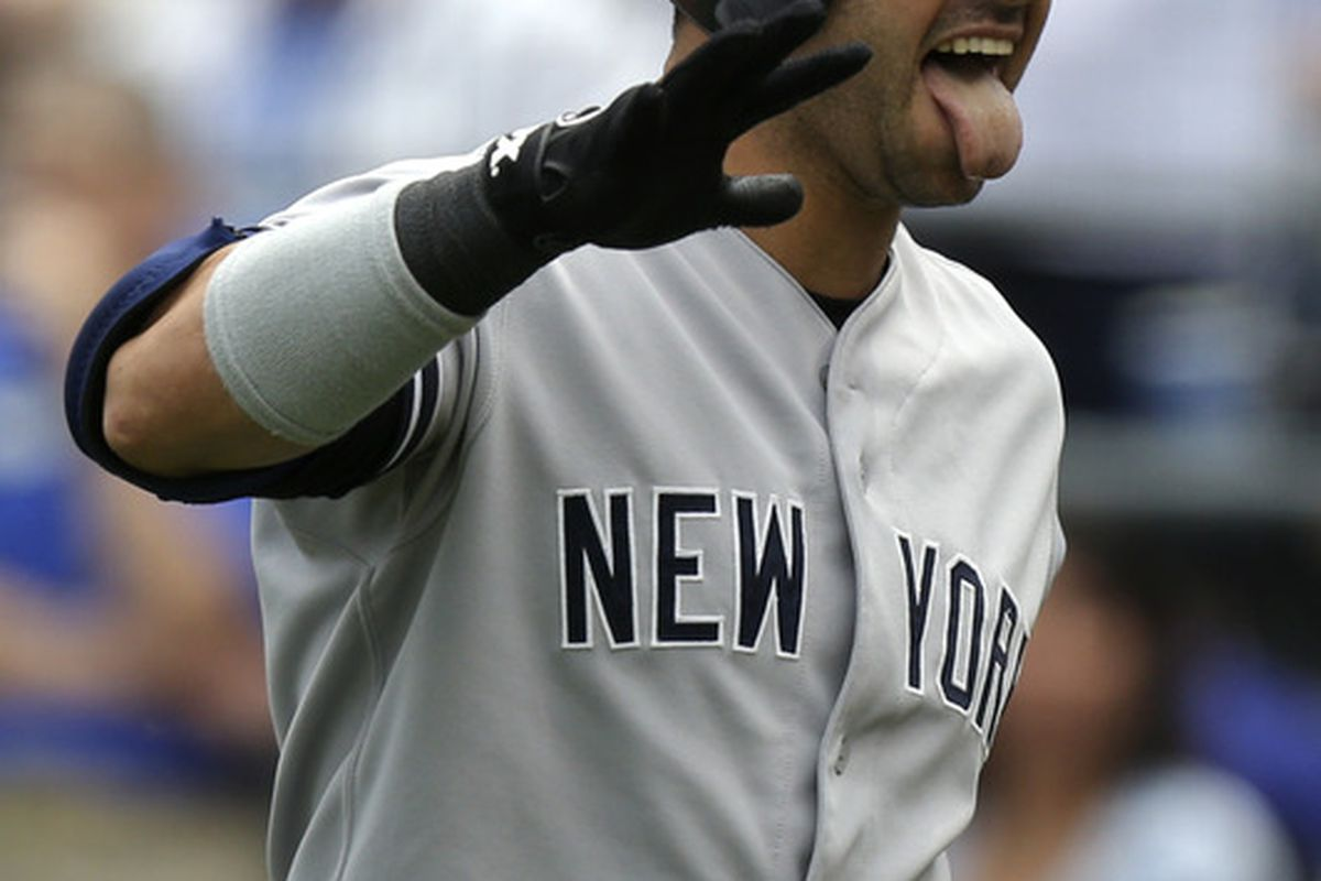 """""""Yeah, I'm fine!"""" -Nick Swisher remarks as reports question the definition of the word """"fine"""" with him talking with his tongue out the whole time."""