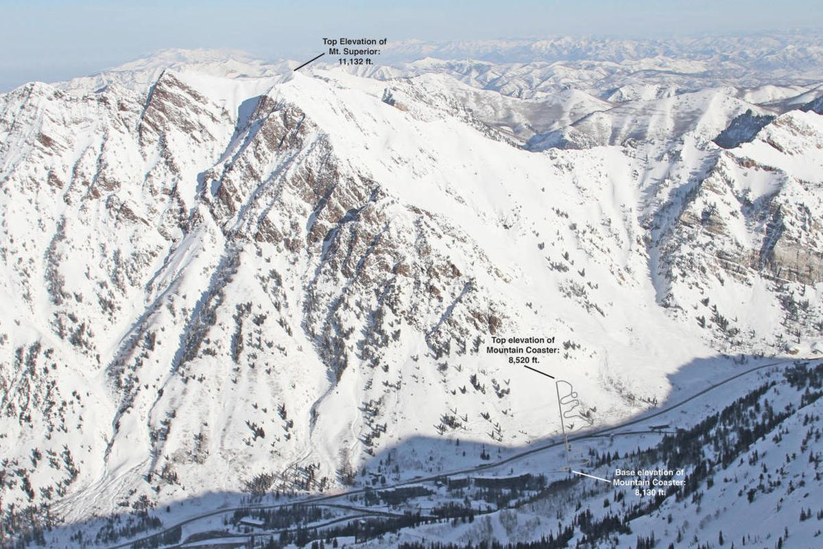 This computer enhanced image shows a previously proposed roller coaster location. A new proposal calls for the mountain coaster to be located within Snowbird's existing developed resort footprint on private property with loading and unloading at the base