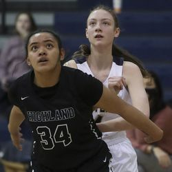 Action in the Highland at Skyline girls basketball game in Salt Lake City on Tuesday, Feb. 16, 2021.