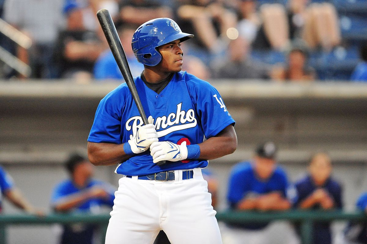 August 26, 2012; Rancho Cucamonga, CA, USA; Rancho Cucamonga Quakes outfielder Yasiel Puig against the San Jose Giants at The Epicenter. Mandatory Credit: Gary A. Vasquez-US PRESSWIRE