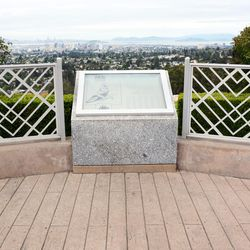 This historical marker looks west from the Oakland Temple toward San Francisco. It interprets the story of Samuel Brannan and the ship Brooklyn. The concrete has been fashioned to represent the floor of a ship.
