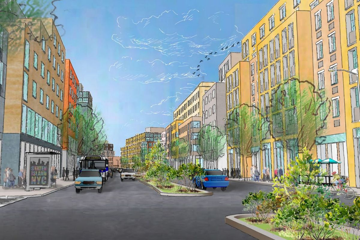 A rendering of how Staten Island's Bay Street could look under a rezoning plan.