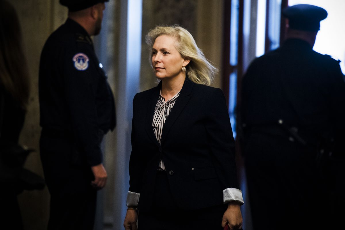 Senator Kirsten Gillibrand (D-NY) arrives at the Capitol on the day Sen. Al Franken (D-Minn.) announced his resignation in the wake of sexual harassment allegations on December 7, 2017.