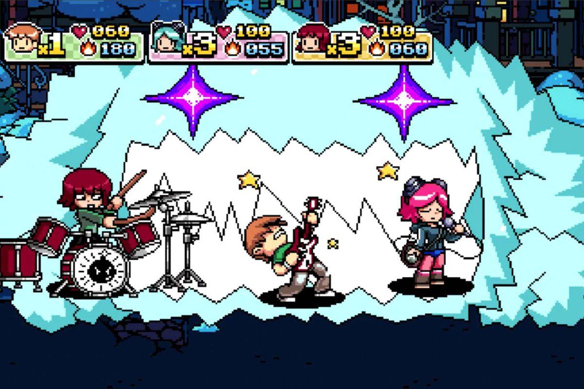 Scott Pilgrim vs the world screenshot, with a band playing music