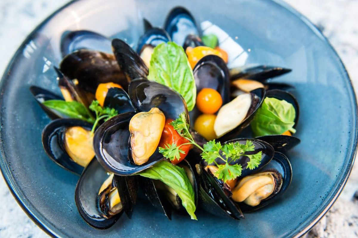 Mussels, garbanzo beans, and potatoes