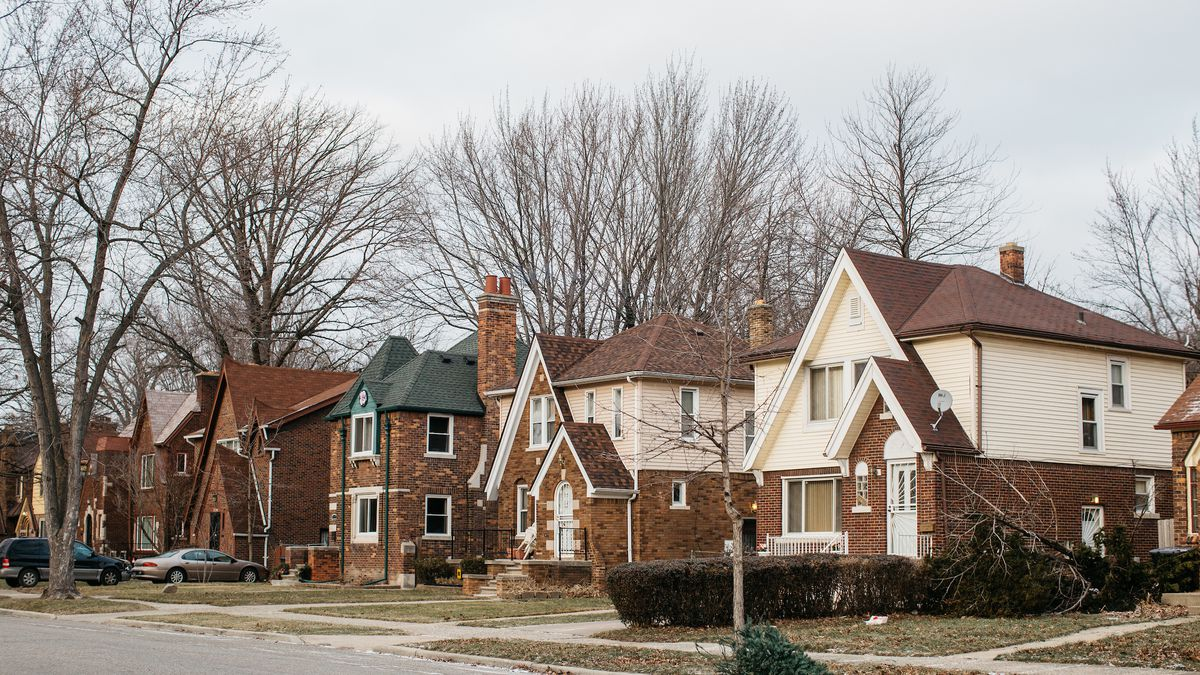 Neighborhood street in Detroit, single family homes, mostly brick and white. Trees in winter have lost their leaves.