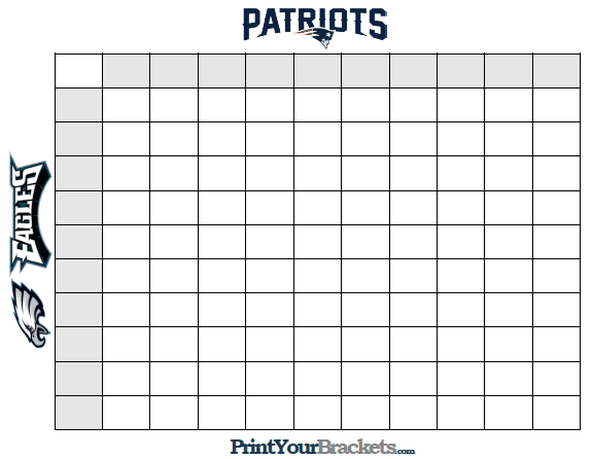 Super bowl squares template how to play online and more for Free super bowl pool templates