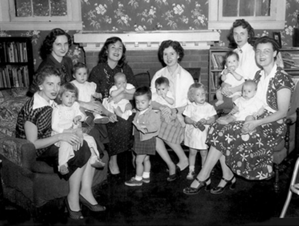 """Mary White (center, legs crossed at ankles) and other """"founding mothers"""" of La Leche League. / Facebook photo"""