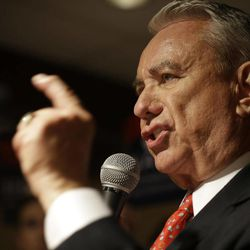 FILE - In this Aug. 14, 2012, former Wisconsin Gov. Tommy Thompson speaks at his primary election night party  in Waukesha, Wis. The Republican Wisconsin U.S Senate candidate will debate his Democratic opponent, Tammy Baldwin, on Friday, Sept. 28, 2012, in Milwaukee.