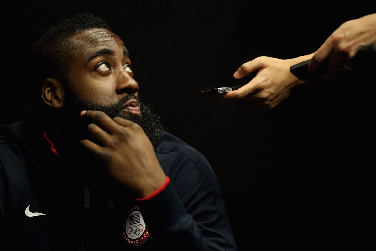 LONDON, ENGLAND - JULY 27:  James Harden takes questions from the media during a basketball press conference ahead of the London 2012 Olympics on July 27, 2012 in London, England.  (Photo by Jeff Gross/Getty Images)