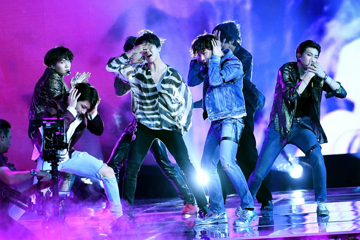 K-Pop sensation BTS performs onstage during the 2018 Billboard Music Awards at MGM Grand Garden Arena on May 20, 2018 in Las Vegas, Nevada.