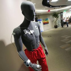 A wireless life detector to monitor vital signs of patients is displayed on a mannequin as Intermountain Medical Center introduces Tuesday, Aug. 20, 2013, its new lab with technology created in Utah, at the hospital in Murray.