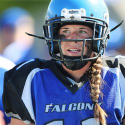 Utah Falconz Shannon Gabbia watches the action against the Colorado Freeze in Murray on June 13, 2015. The Falconz compete in a women's tackle football league.
