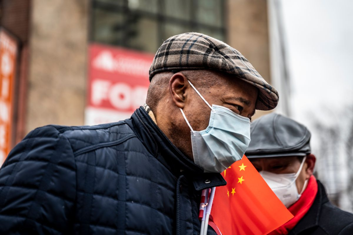 Mayoral candidate Eric Adams takes part in a Lunar New Year celebration in Manhattan's Chinatown, Feb. 12, 2021.