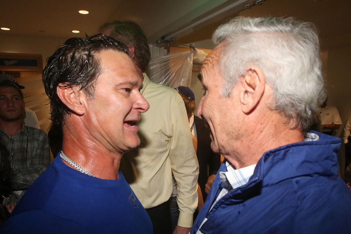 Angels' manager Don Mattingly and pitching coach Sandy Koufax.