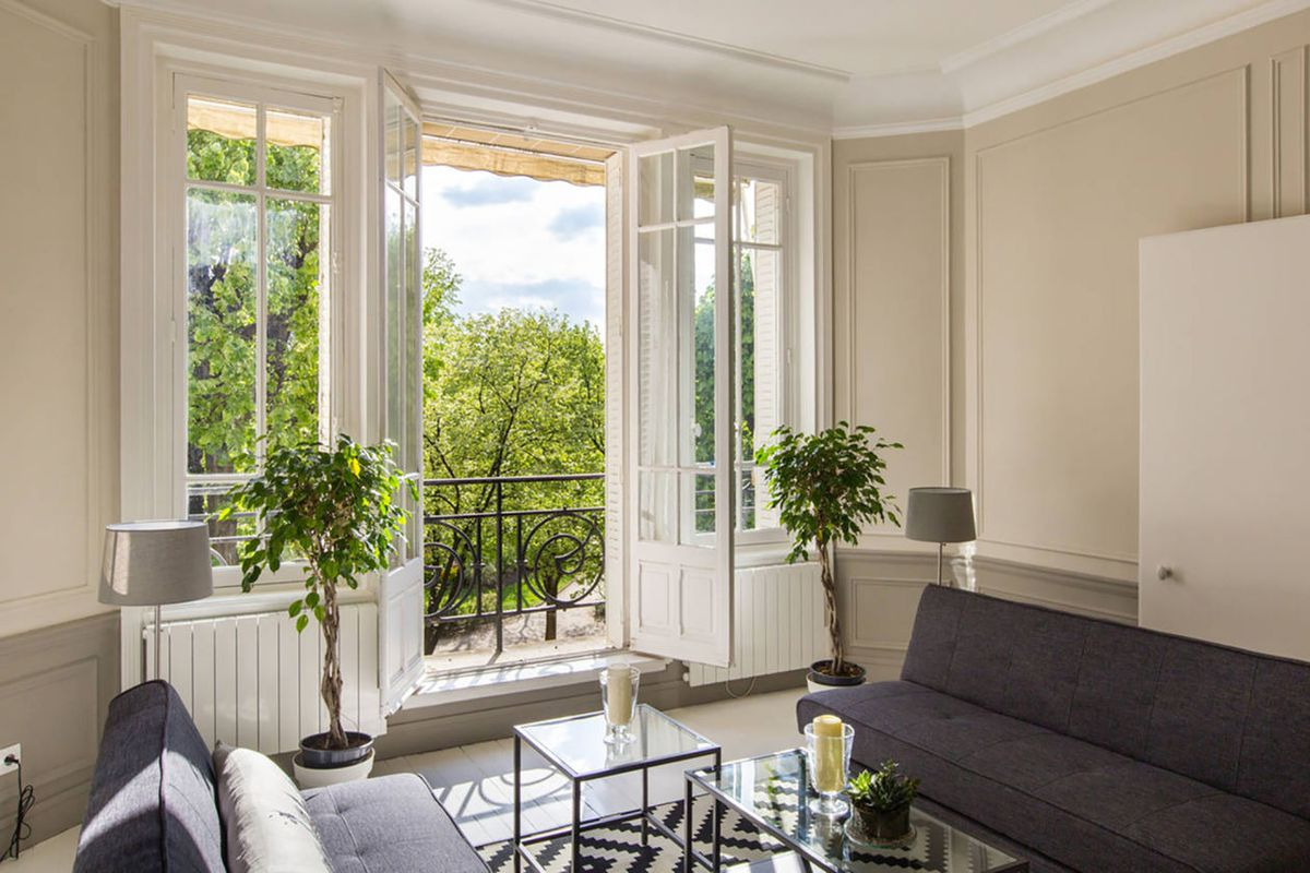 Parisian home with French doors to a balcony