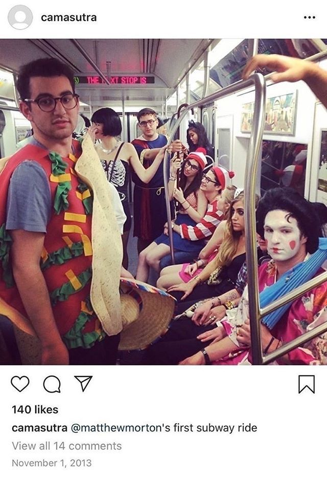 A screenshot from Instagram in which a man sits on a crowded subway car dressed in an appropriative costume intended to look like a geisha
