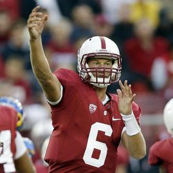 FILE - In this Aug. 31, 2012, file photo, Stanford quarterback Josh Nunes (6) throws against the San Jose State during the first half of an NCAA college football game in Stanford, Calif. The last time Matt Barkley and Nunes played against each other was at the 2009 High School All-American Game. Things will be a little different for these quarterbacks Saturday night when Barkley and No. 2 Southern California face Nunes and No. 21 Stanford.