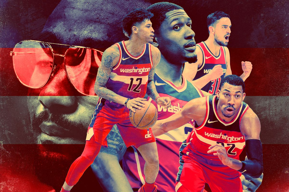 A collage of the Wizards players with John Wall in the background, wearing sunglasses