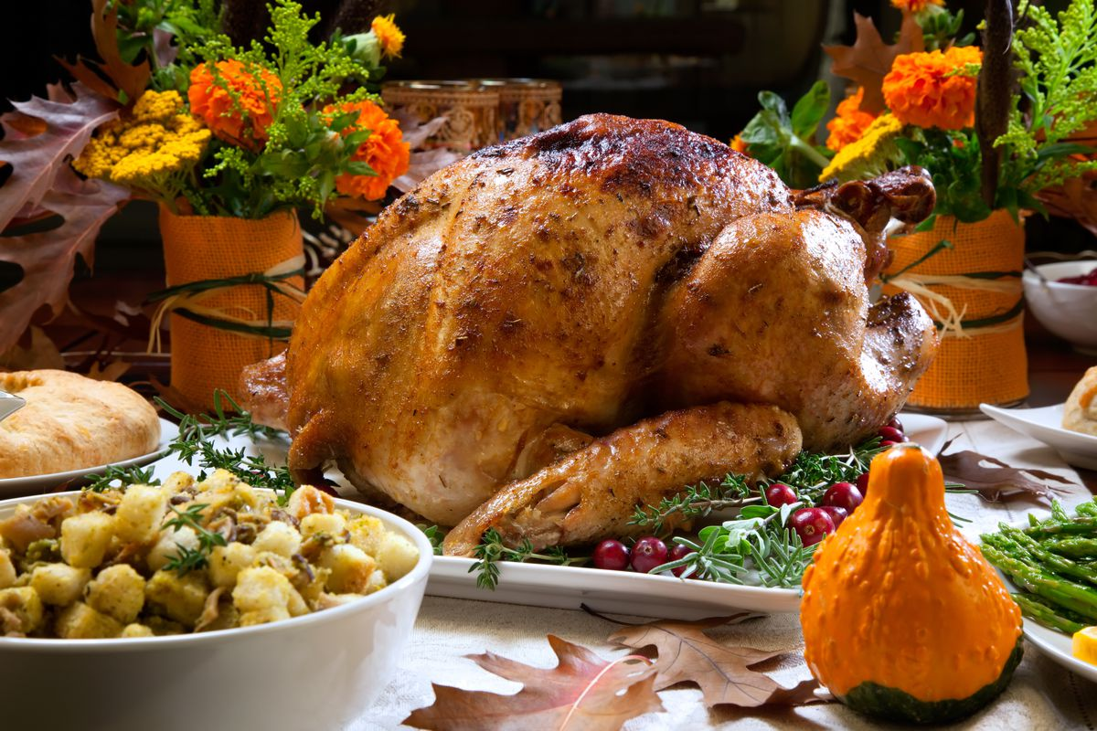 A turkey and traditional Thanksgiving Day meal.