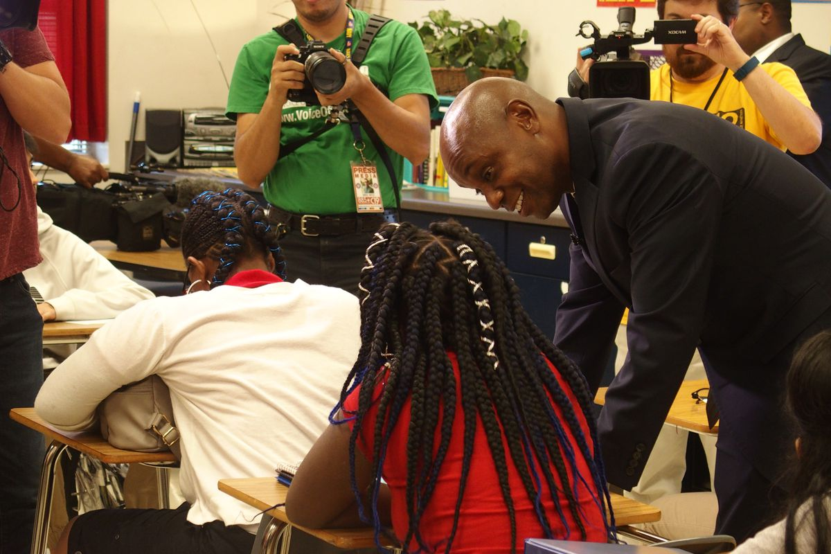 Superintendent Dorsey Hopson visits students at American Way Middle School on the first day of school.