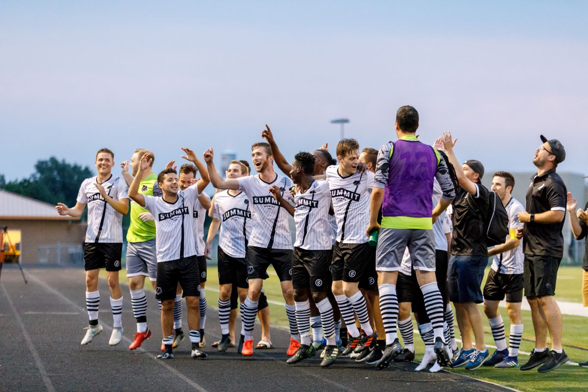June 30, 2018 - Osseo, Minnesota, United States - Minneapolis City SC sing with their supporters after they defeat Duluth FC 4-2 and are crowned champions of the NPSL North at John Hansen Stadium.   (Photo by Seth Steffenhagen/Steffenhagen Photography)