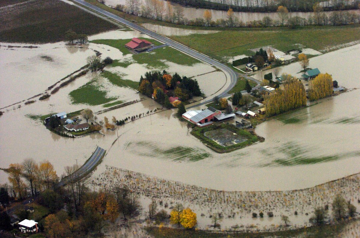 Hampton Road, south of Lynden, Washington, is flooded Tuesday morning, November 7, 2006. (Philip A. Dwyer/Bellingham Herald/MCT via Getty Images)