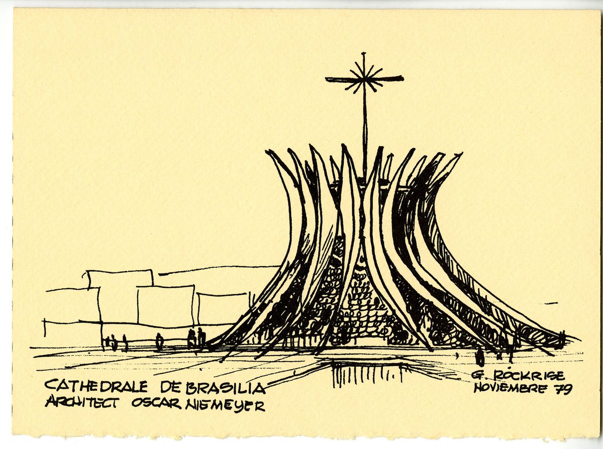A holiday card showing the Cathedrale de Brasilia by George Rockrise.