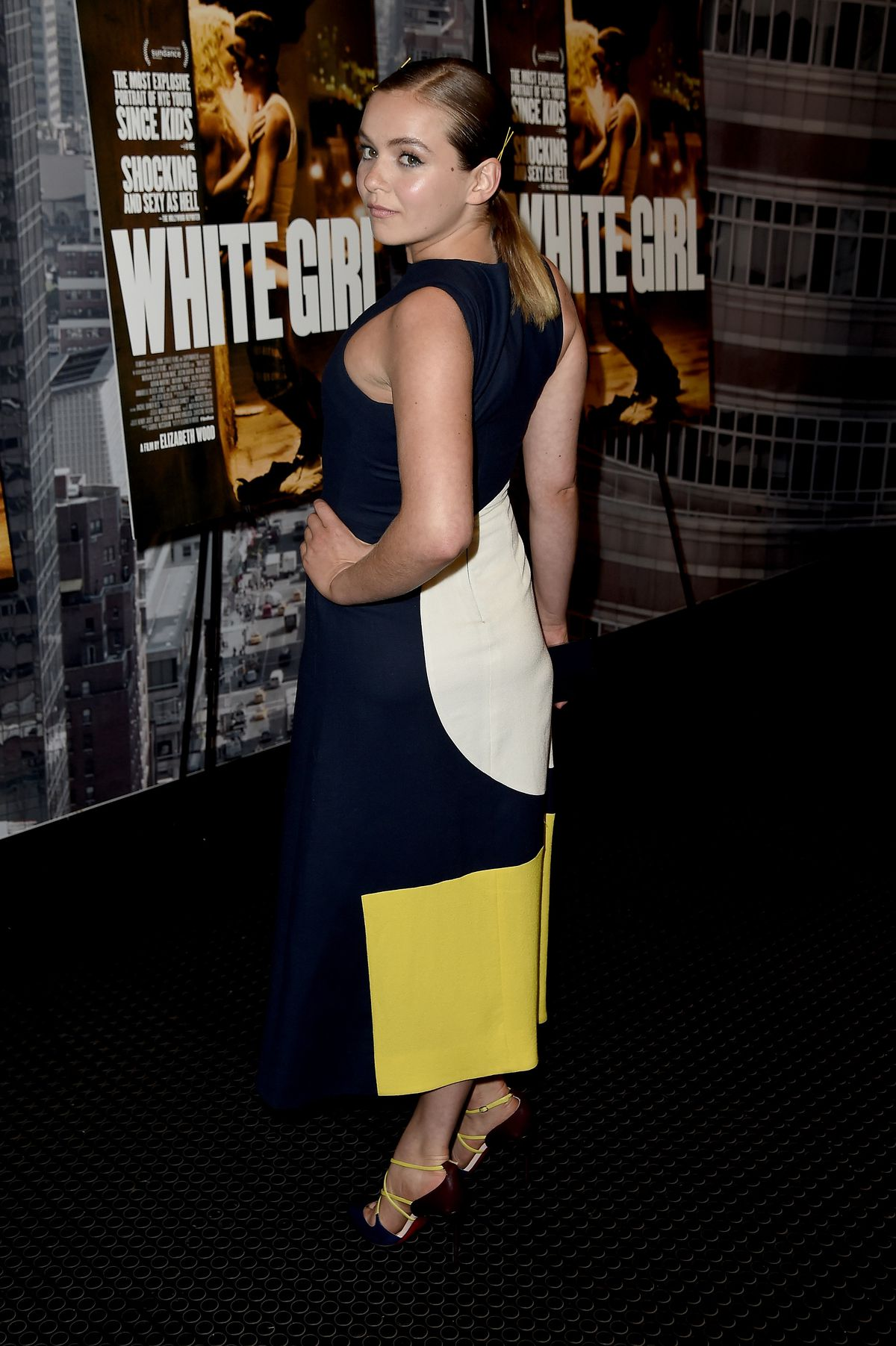 """Morgan Saylor strikes a post at the """"White Girl"""" New York Premiere on August 22, 2016. 