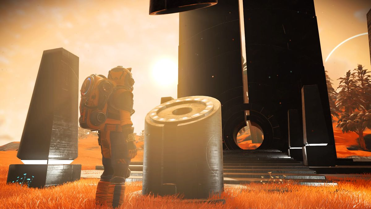a person in a spacesuit stand near a cylindrical stone in No Man's Sky