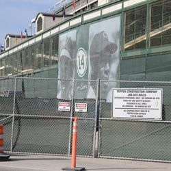 5:13 p.m. View of the Ernie Banks banners from Clark Street -