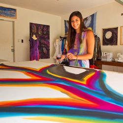 SAbel designer Serena Abel painting silk.