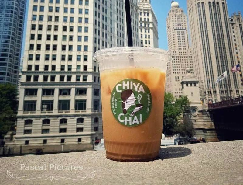 A cup of iced chai on the Riverwalk.