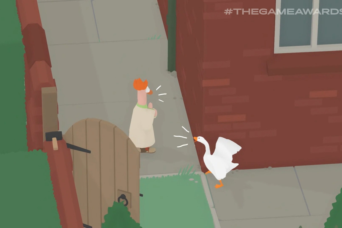 Beaker being honked at by a goose