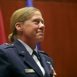 Utah Air National Guard Brig. Gen. Christine Burckle listens to remarks during her retirement ceremony at the Roland R. Wright Air National Guard Base in Salt Lake City on Thursday, Aug. 29, 2019.