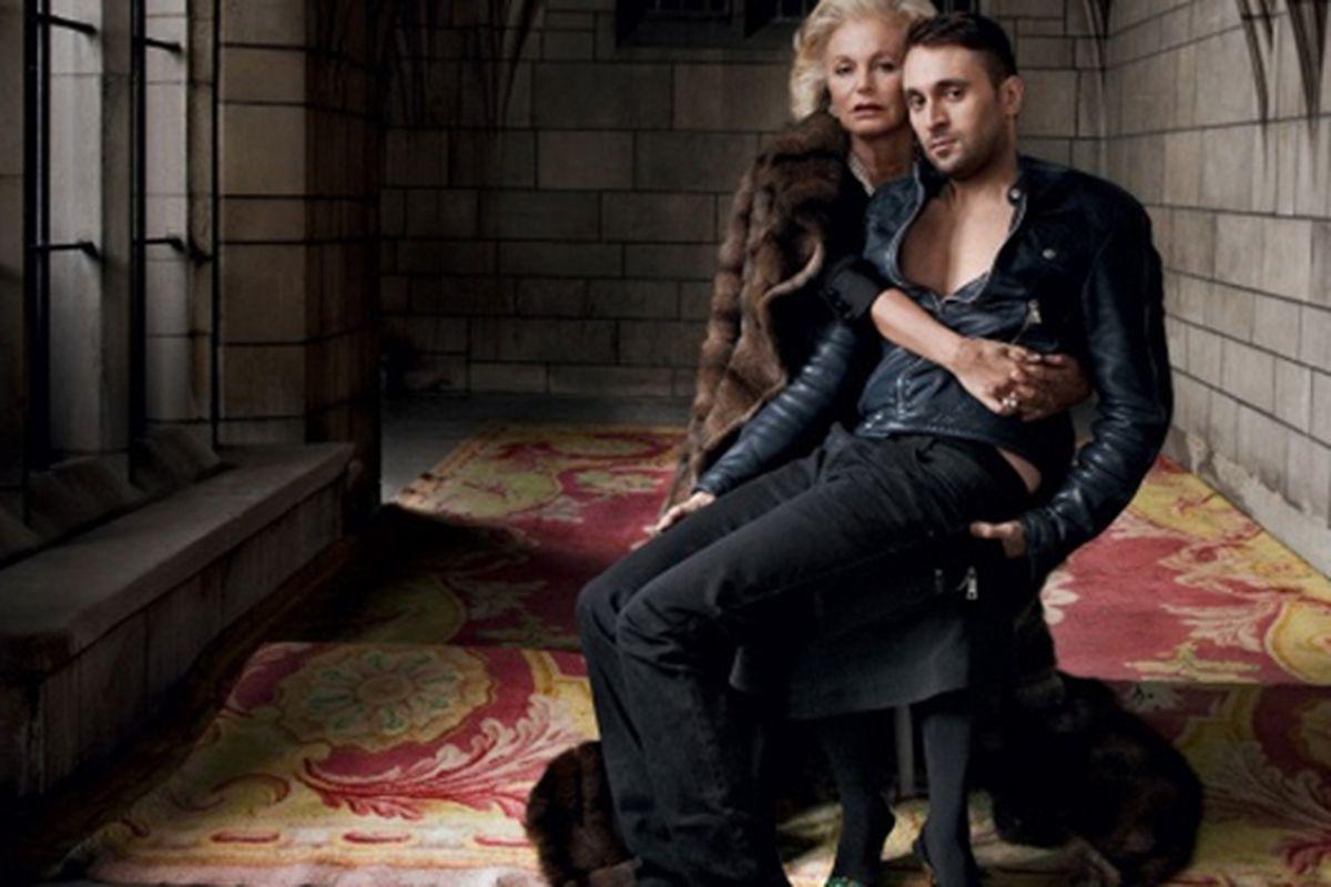 "Photo by Annie Leibovitz for <a href=""http://www.vogue.com/magazine/article/francesco-vezzoli-mother-love/"">Vogue</a>"