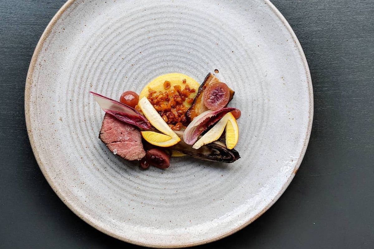 Iberico pork, chicories, gooseberry, ovuli mushroom at Pidgin restaurant in Hackney, which will make its weekly menu a mystery — it won Best Restaurant at the Observer Food Monthly Awards in 2017
