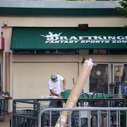 Mon 4:35 p.m. Awnings being replaced, at the former Captain Morgan Club -