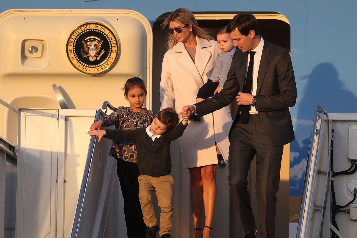 Ivanka Trump and Jared Kushner with their family in February.