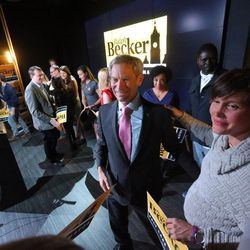 Salt Lake City Mayor Ralph Becker talks with Salt Lake City Council member Erin Mendenhall after speaking to supporters at his election night party at Club 50 West in Salt Lake City on Tuesday, Nov. 3, 2015.