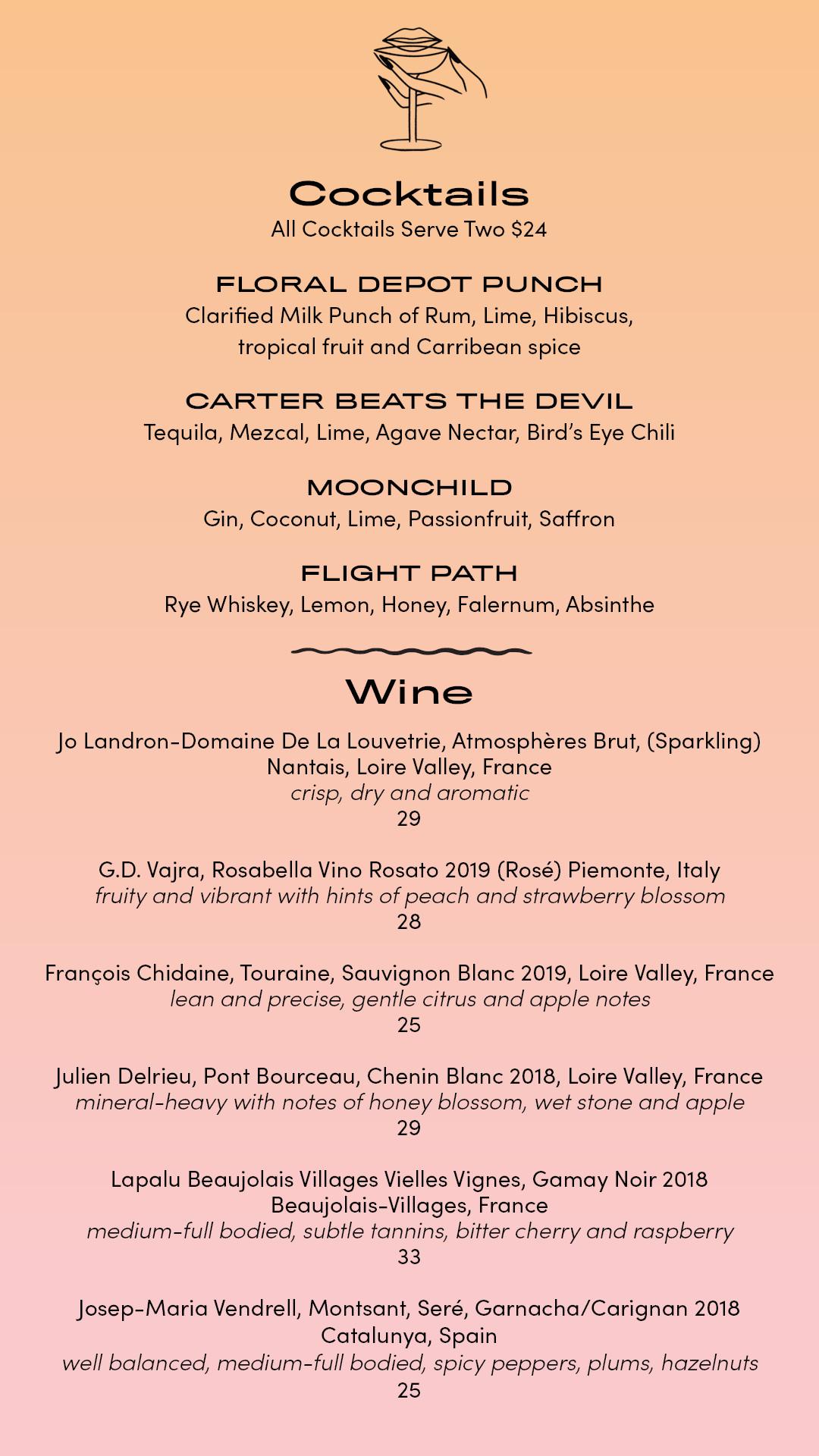 Takeout menu at Palmetto