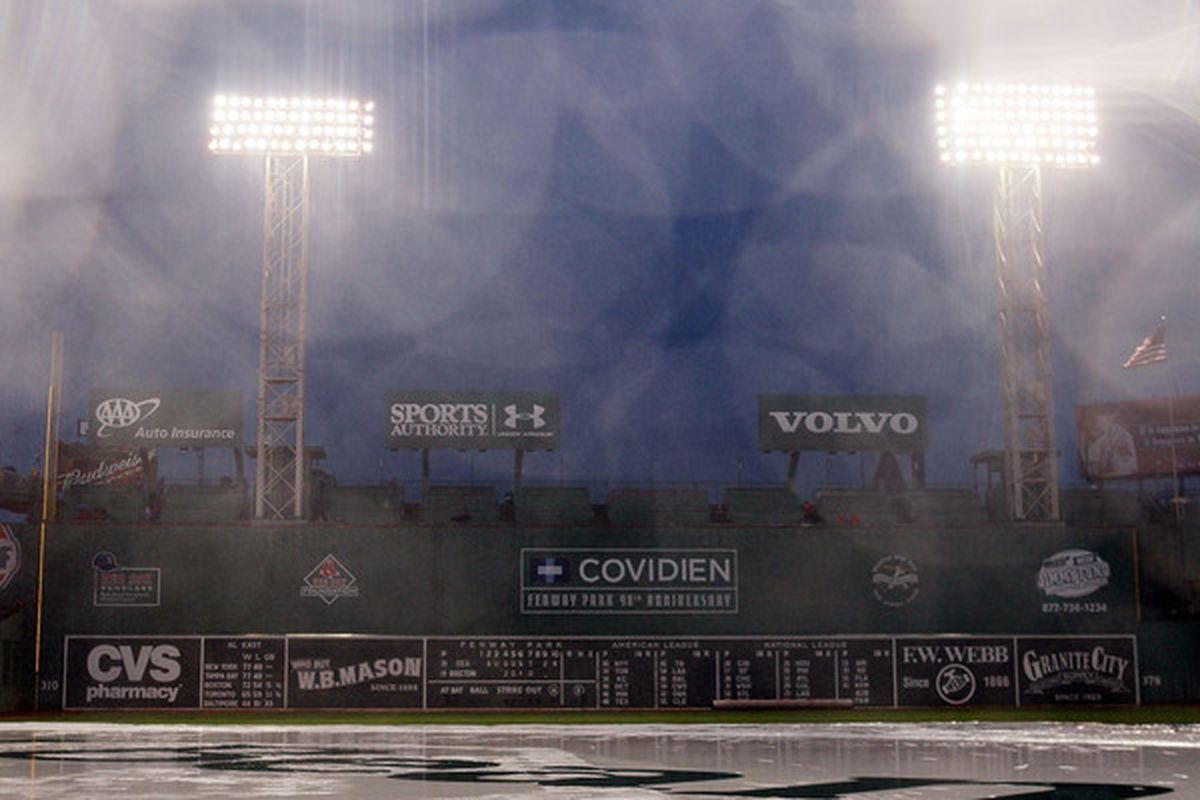 BOSTON - AUGUST 24:  The game between the Seattle Mariners and the Boston Red Sox is postponed due to rain on August 24 2010 at Fenway Park in Boston Massachusetts. The teams will play a double header tomorrow.  (Photo by Elsa/Getty Images)