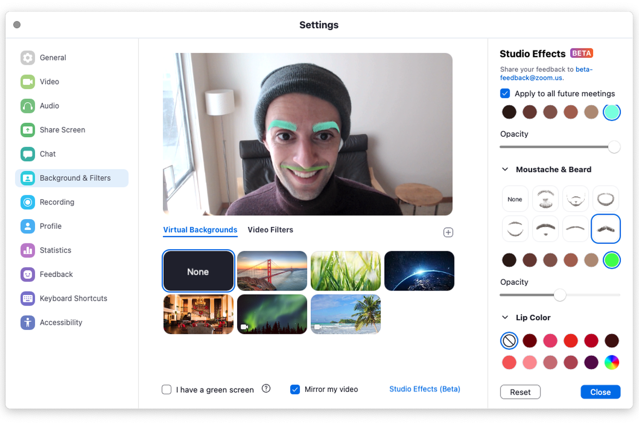 Zoom adds facial effects so you can look your weirdest during meetings