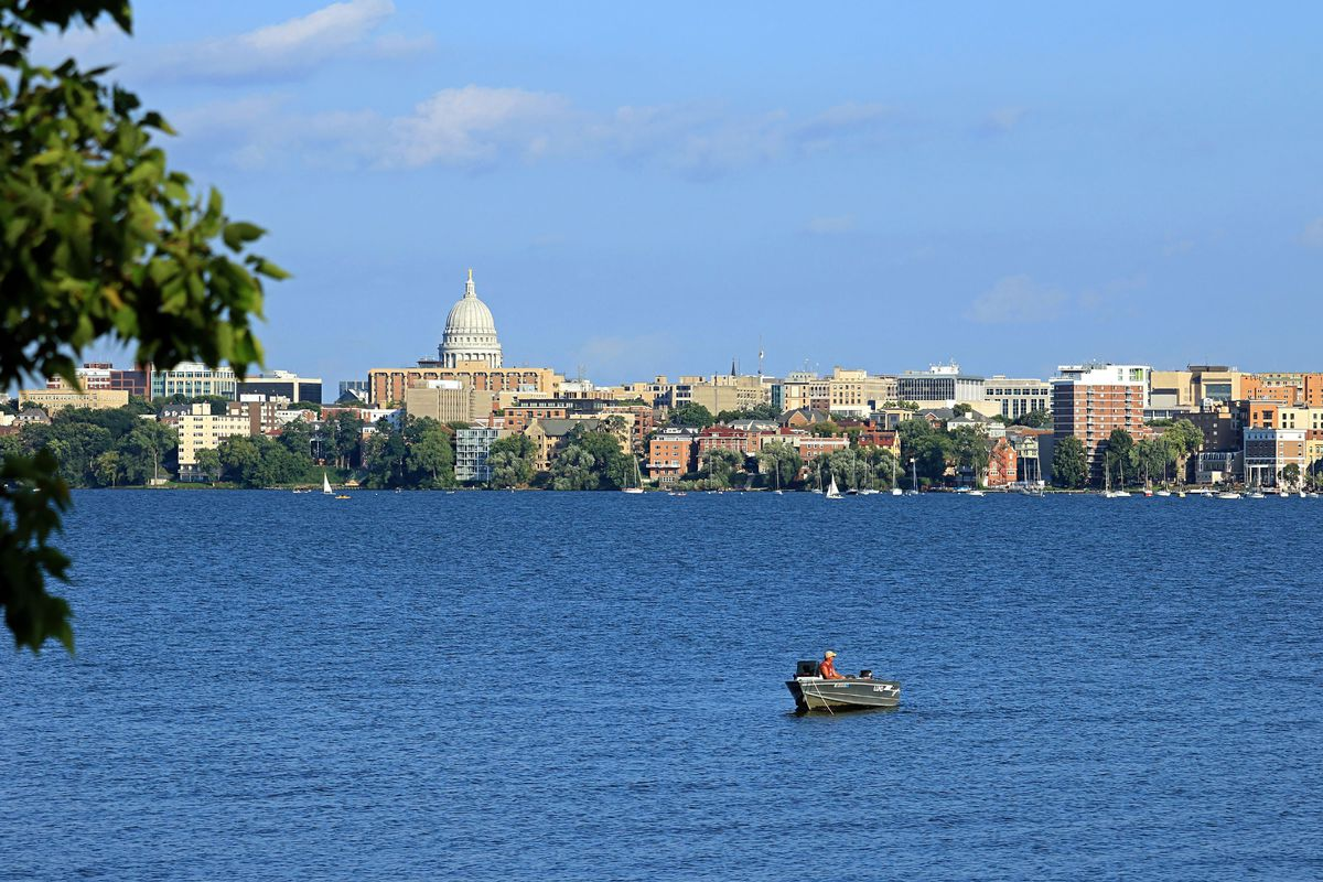 Lake Mendota and the Wisconsin state capitol in Madison