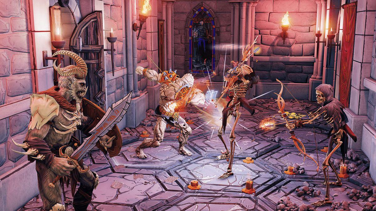 Mercenaries engage in turn-based combat against reanimated skeletons