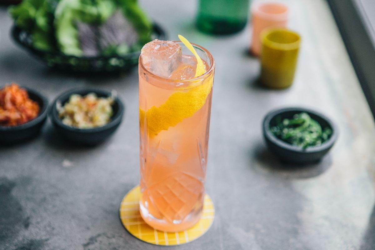 Yaupon Do It cocktail at Oseyo with gin, Campari, loquat shrub, lemon