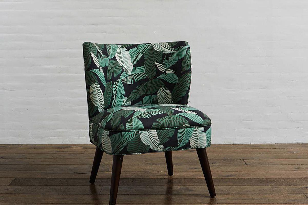 chair in a leaf print.
