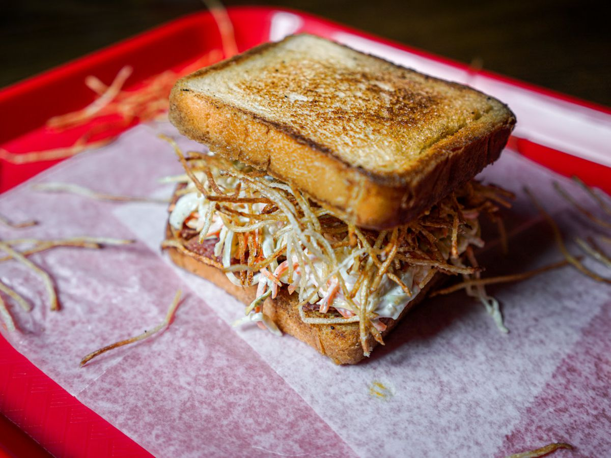 A fried salami and slaw sandwich from Fight Club